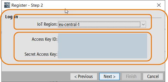 Выбор локации AWS-сервера и ввод данных своей учетной записи AWS
