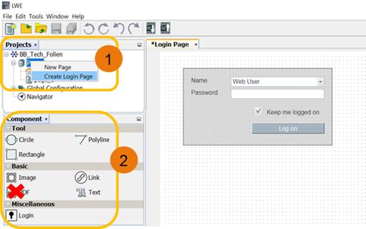 Элементы управления: все компоненты в Tool и Basic, за исключением PDF
