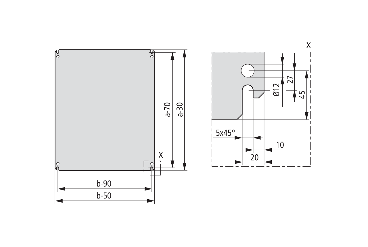 Размеры монтажных плат MPP, MPL