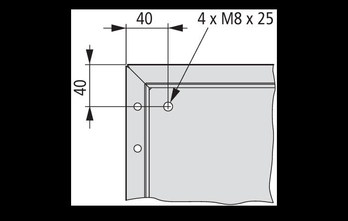Расположение четырех приваренных шпилек Eaton CS