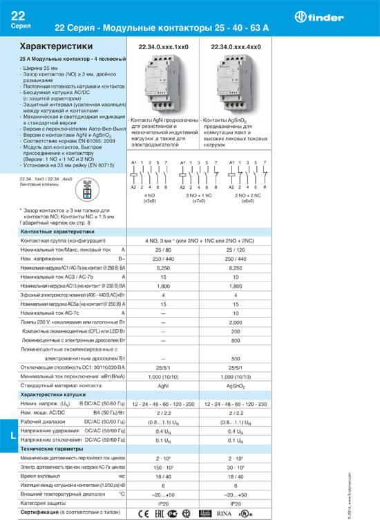 Техническое описание модульных контакторов Finder 22