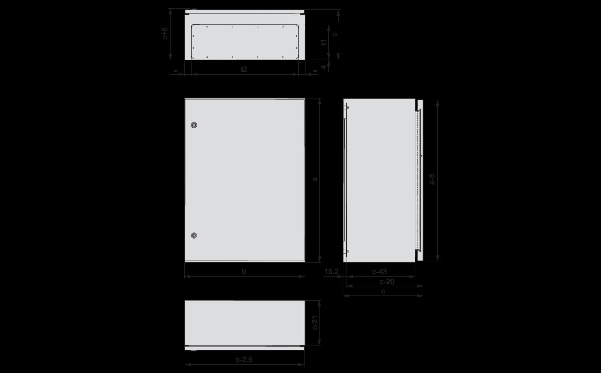 Щиты CS с дверями глухими панелями для фланцев