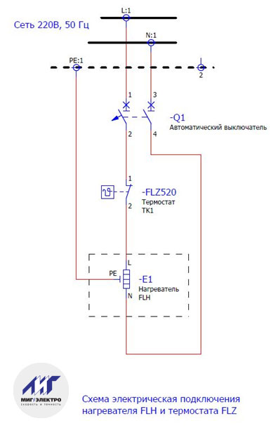 Схема подключения нагревателя FLH и термостата FLZ