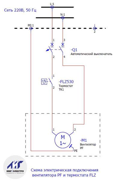 Схема подключения вентилятора PF и термостата FLZ