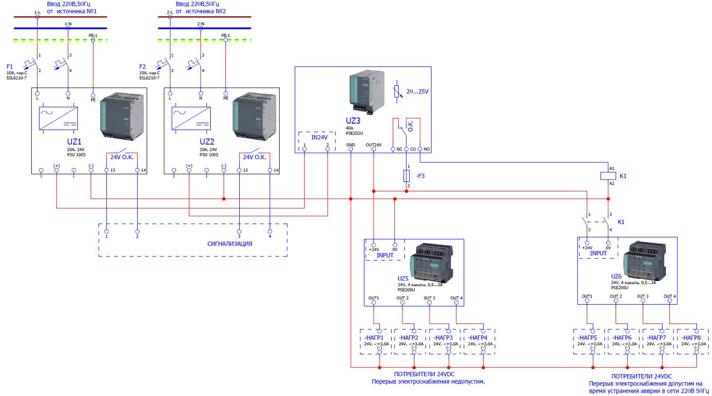 Варианты организации бесперебойного питания напряжением 24В постоянного тока